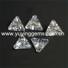 China Low Price Triangle Cut Chamfered Corner Synthetic CZ