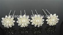 Wholsale Shining Alloy Rhinestone Pearl Flower Hair Pin Hairpins For Hair