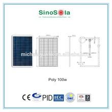 high efficiency 100w poly solar panel for mini caravan for solar power system with TUV/PID/CEC/CQC/IEC/CE