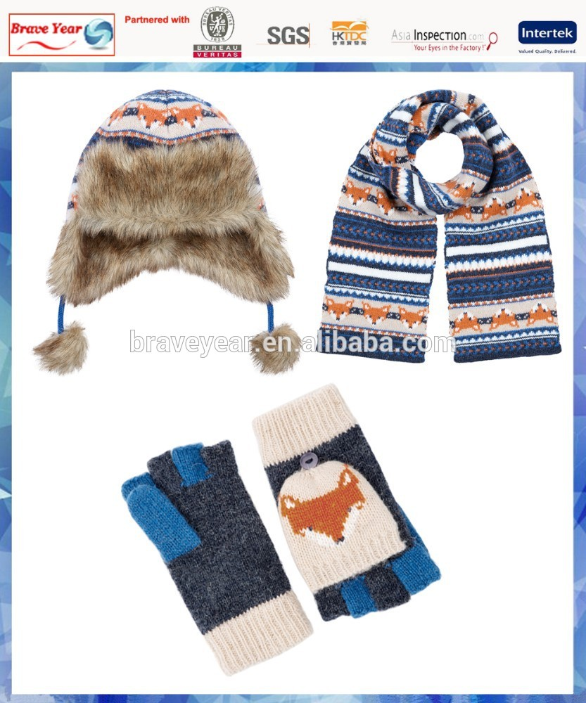 50%wool /50%acrylic fox fairisle knitted hat scarf glove for young boys