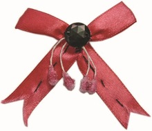Ribbon bow cutting with black bead