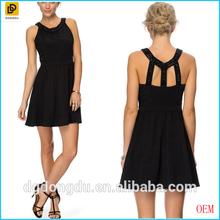Wholesales bead-embellished neckline evening dress/Fitted bodice women wear apparel