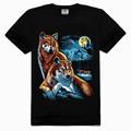 Hot vente 2014 100% coton col rond 3d animal impression t- shirt sexe xxl