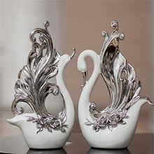 Modern decoration of Lovers Swan Silvering for Home decorations