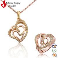 Modern royal artificial 18k crystal indian bridal gold jewellery sets FPS291