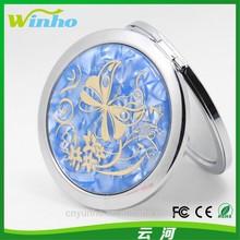 Winho round decorative compact mirrors with light blue & golden pattern desgin