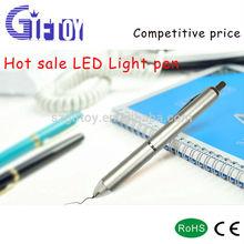 Metal pen comfortable light up led torch ballpoint pen