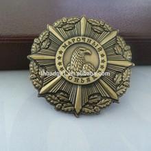 Antique brass metal military emblems,custom bronze army badge
