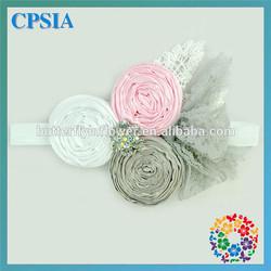 Fancy Infant Flower Headband Babies Pink Lace Hairband Toddler Baby girls Felt Flower headbands