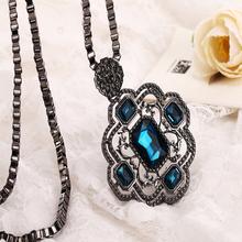 S053 Korean fashion sapphire long women necklace unique jewelry