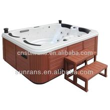 Acrylic plastic bathtub for adult indoor cedar wood spa bathtub