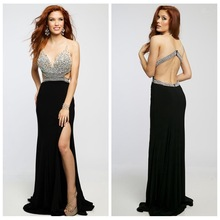 YPD11286 Black Prom Dresses Deep V Neck And Sexy Indian Prom Dresses 2015