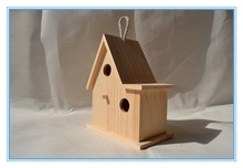 Varnishing wood material wooden bird house