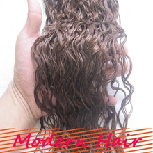 Top grade sexy #6 color 26 inch curly virgin remy brazilian hair weft for black women