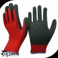 Srsafety rojo polialgodón forro recubierto negro guante de látex de látex de goma en china