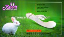 Beautiful Women Using Sex Dildo Rabbit Vibrator USB Charger Double Rabbit Vibrator Blue/Pink/White/Black G-spot Vibrator