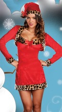Small coat of red leopard print long-sleeved Christmas dress