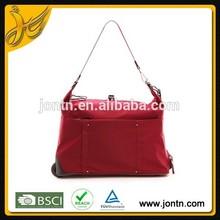Red folding wheeled market trolley bag