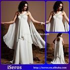 Graceful Unique Bandage Backless Beaded Tiered Draped Elegant White A Line Cheap Alibaba Chiffon Wedding Dresses 2015