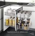 Espectáculo de la mano de la esquina del gabinete de cocina plato de la cocina de almacenamiento cesta de alambre