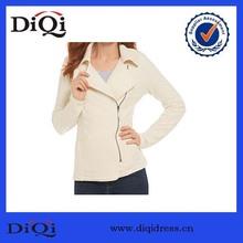 Oem Fashion Casual Women Winter Jacket with Zipper Beige