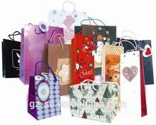 Christmas gift bags no MOQ newly handmade gift shopping paper bag with ribbon handle