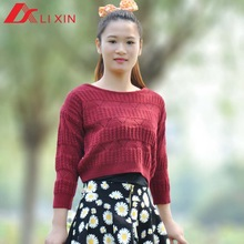 2015 new design short style boat collar sweater knitting