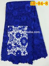 2014 Latest design royal blue cord lace fabric SR-84-8