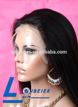 New Fashion Wig !! Brazilian Virgin 100% Human Hair Yaki Straight Full Lace Wig For Girls