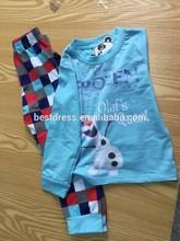 Hot sale children's girls cute winter pajamas wholesale kids cotton forzen pajamas cheap china frozen nightgown pajamas