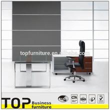 2014 Modern High Quality Steel Frame Office Executive Glass Top Desk