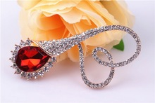 Hot Sale Latest Fashion Heart Shaped Big Red Zircon Brooch