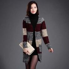 NZ3347 high quality striped sweaters big brand long woolen coats