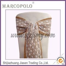 fancy lace hessian chair sashes for weddings banquet / new design fashion popular burlap chair sash