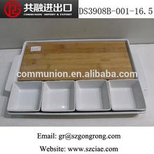 """16.5"""" de porcelana retangular e 3.75"""" o quadrado da hipotenusa tigela com placa de bambu"""