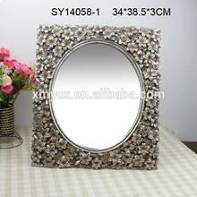 Polyresin bathroom decorative lily vintage mirror frame