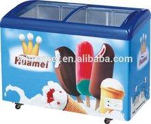 328L ice cream Curved Glass Door Chest Freezer/refrigerator/fridge