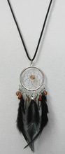 Hot selling indian feather dreamcatcher necklace