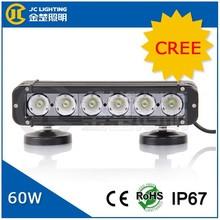 12v 24v single row cree 60w led light bar, flood spot auto lighting for SUV, ATV, UTV, 4x4, jeep