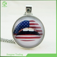 2014 round Glass pendant Necklace Retro Jewelry Pendant Glass Dome American flag sexy lips pendant Necklace.