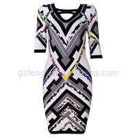wholesale long sleeve mix color printed bandage dress