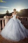 LI-445 Sweetheart Neckline Organza Ruffle Skirt Oved Cohen Fluffy Wedding Dresses