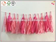 Pink Kisses Tissue Paper Tassel Garland - Party - Wedding - Baby Shower - Nursery - Valentines Day
