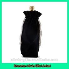 Black drawstring velvet wine bottle bag