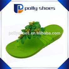Ladies heel green jelly upper eva outdoor beach flip flops bamboo