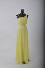 Fashion special designs beading blue and yellow bridesmaid dresses