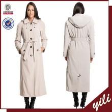 2015 new fashion waist belt women detachable hood long coat