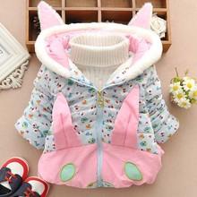 Tae10058 2014 winter flowers printed rabbit thickening cotton-padded jackets wholesale children's wear