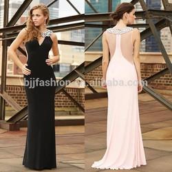 New Arrival Elegant Sleeveless Jersey Beaded Crystal Latest Evening Dresses