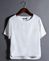 Wholesale the fashionable design high quality cheap cotton 0-neck short sleeve plain white women t-shirt